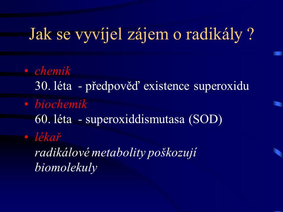 Jak se vyvíjel zájem o radikály ? chemik 30. léta - předpověď existence superoxidu biochemik 60. léta - superoxiddismutasa (SOD) lékař radikálové meta