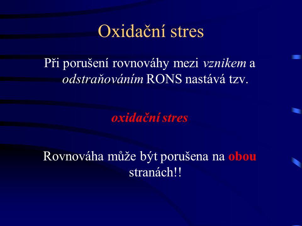 Oxidační stres Při porušení rovnováhy mezi vznikem a odstraňováním RONS nastává tzv. oxidační stres Rovnováha může být porušena na obou stranách!!