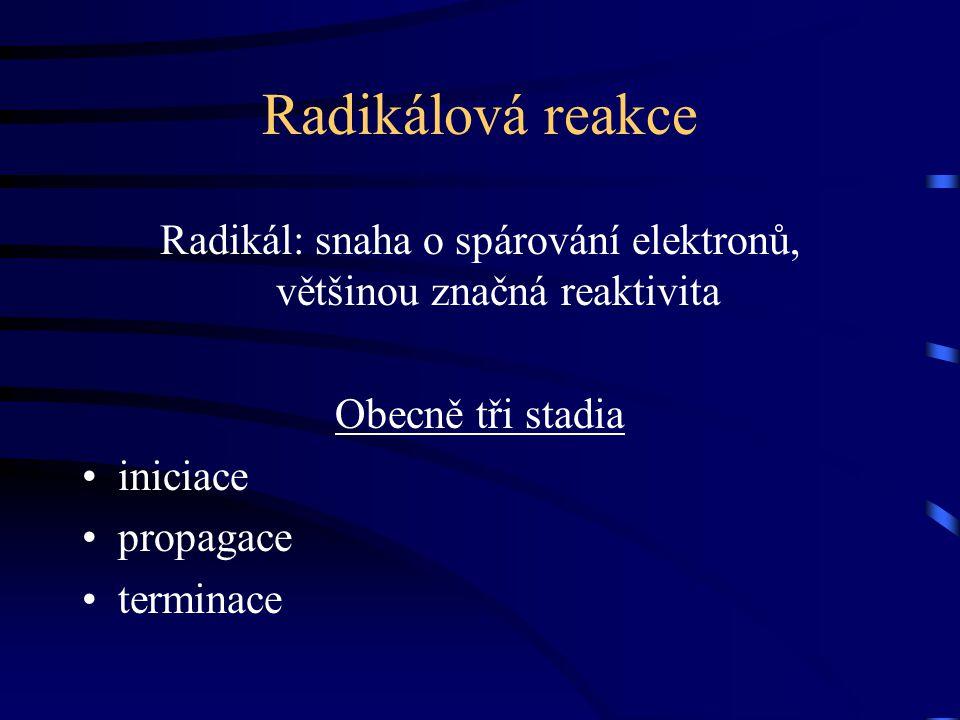 Radikálová reakce Radikál: snaha o spárování elektronů, většinou značná reaktivita Obecně tři stadia iniciace propagace terminace