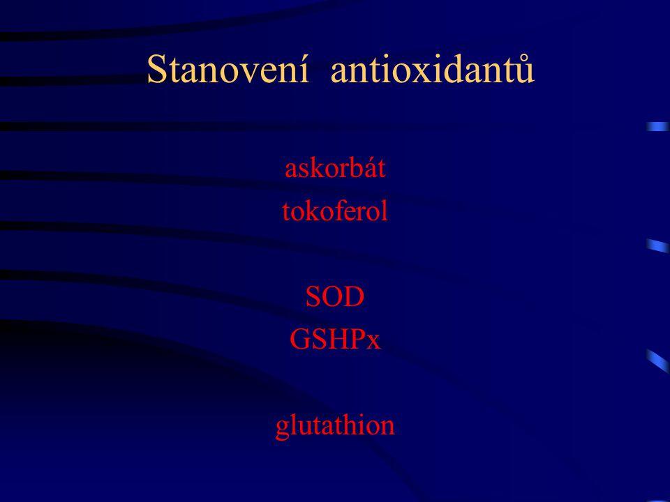 Stanovení antioxidantů askorbát tokoferol SOD GSHPx glutathion