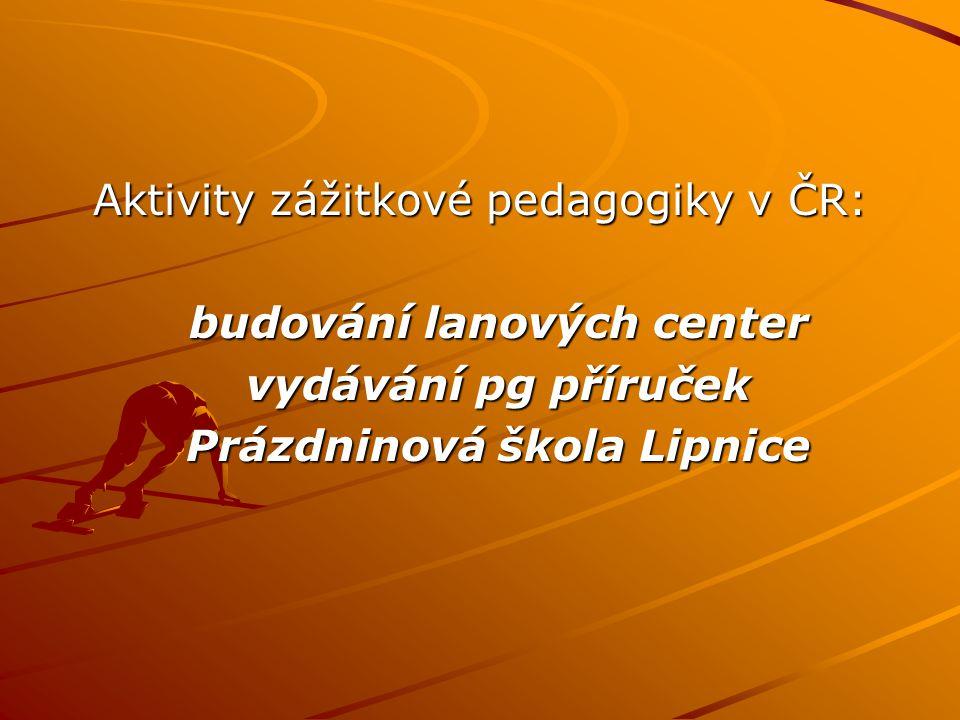 Aktivity zážitkové pedagogiky v ČR: budování lanových center vydávání pg příruček Prázdninová škola Lipnice