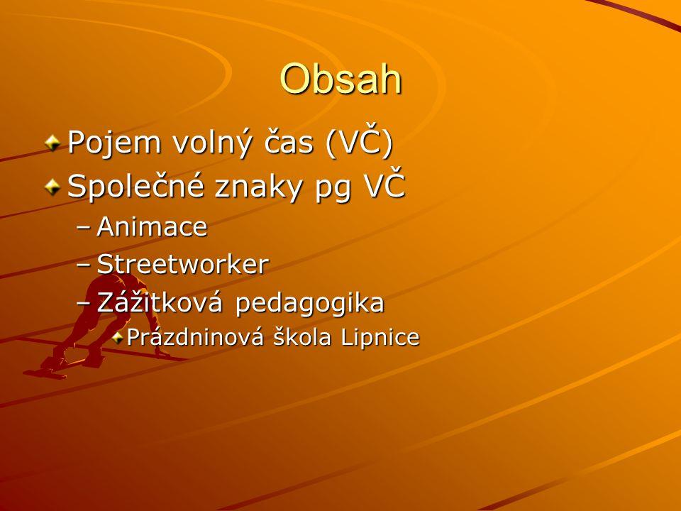 Obsah Pojem volný čas (VČ) Společné znaky pg VČ –Animace –Streetworker –Zážitková pedagogika Prázdninová škola Lipnice