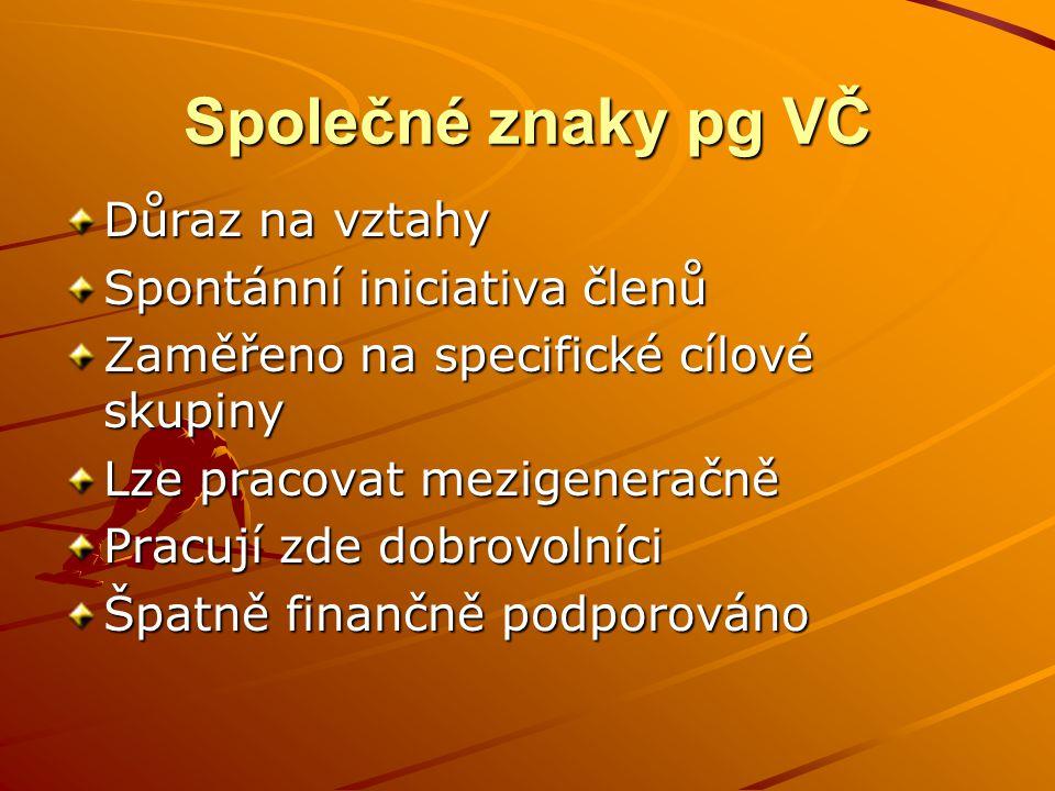 Společné znaky pg VČ Důraz na vztahy Spontánní iniciativa členů Zaměřeno na specifické cílové skupiny Lze pracovat mezigeneračně Pracují zde dobrovoln