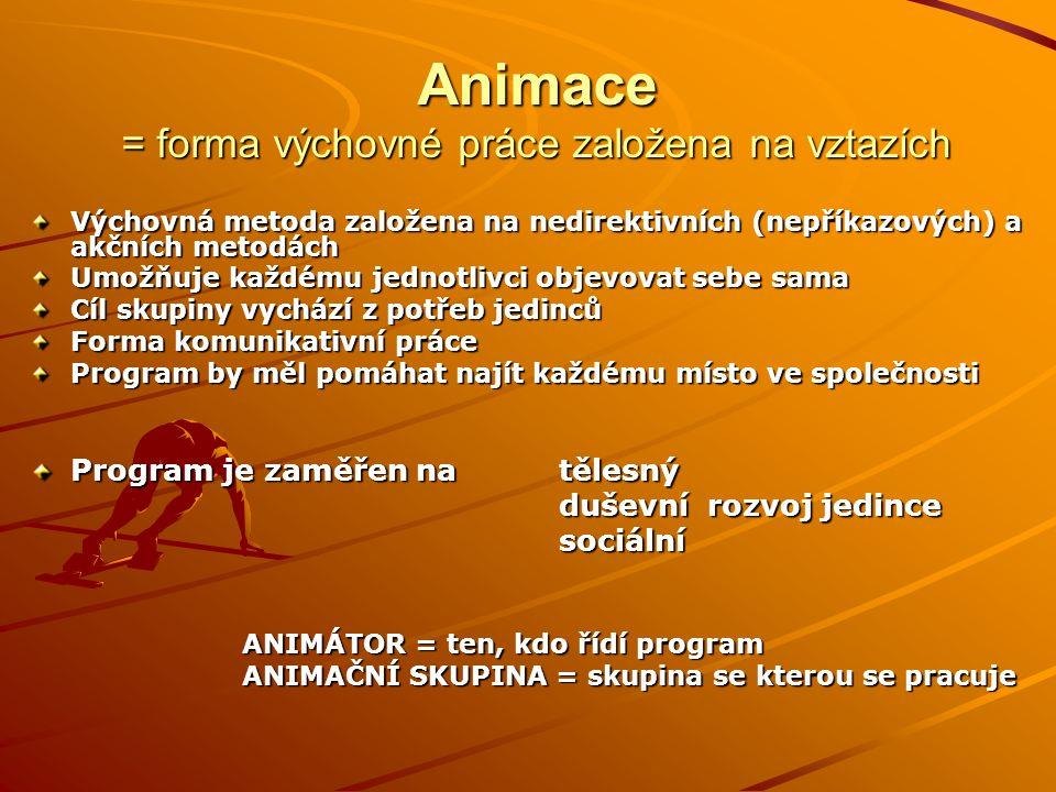 Animace = forma výchovné práce založena na vztazích Výchovná metoda založena na nedirektivních (nepříkazových) a akčních metodách Umožňuje každému jed