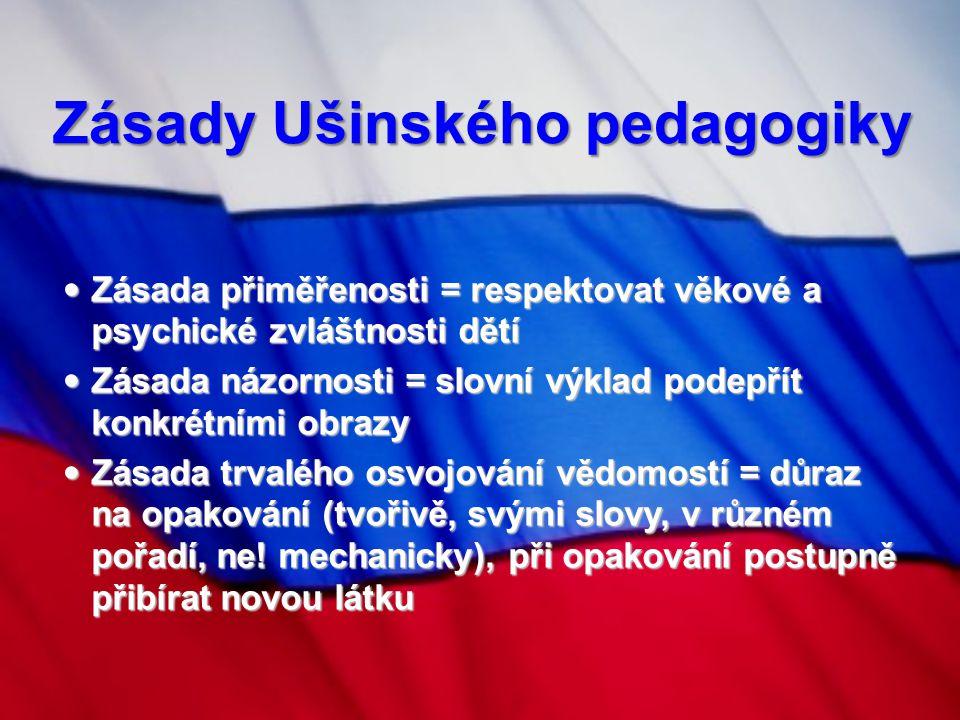 Zásady Ušinského pedagogiky Zásada přiměřenosti = respektovat věkové a psychické zvláštnosti dětí Zásada přiměřenosti = respektovat věkové a psychické