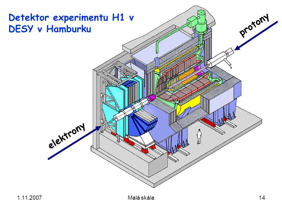 1.11.2007Malá skála14 protony elektrony Detektor experimentu H1 v DESY v Hamburku