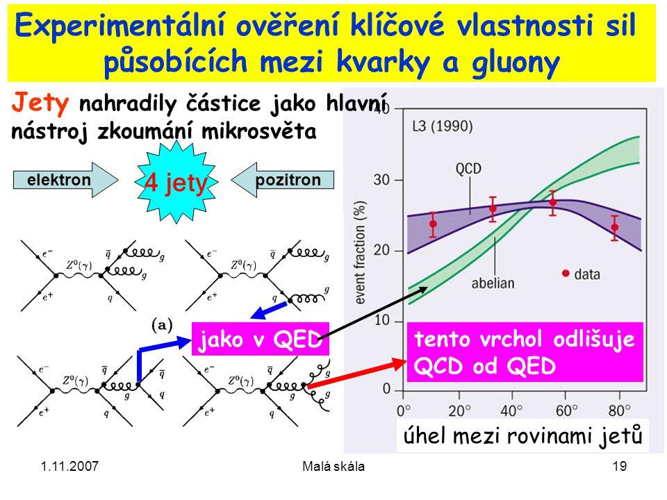 1.11.2007Malá skála19 Experimentální ověření klíčové vlastnosti sil působících mezi kvarky a gluony Jety nahradily částice jako hlavní nástroj zkoumání mikrosvěta elektronpozitron jako v QED tento vrchol odlišuje QCD od QED 4 jety úhel mezi rovinami jetů