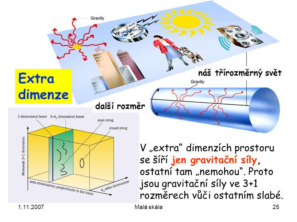 """1.11.2007Malá skála25 V """"extra dimenzích prostoru se šíří jen gravitační síly, ostatní tam """"nemohou ."""