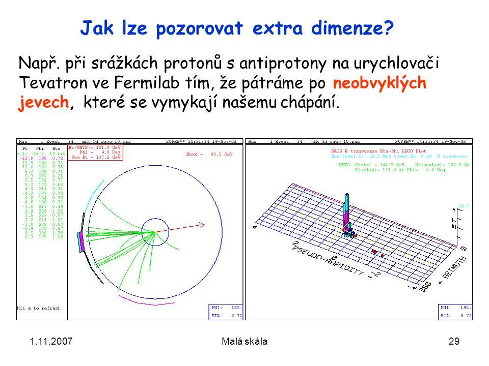 1.11.2007Malá skála29 Jak lze pozorovat extra dimenze.