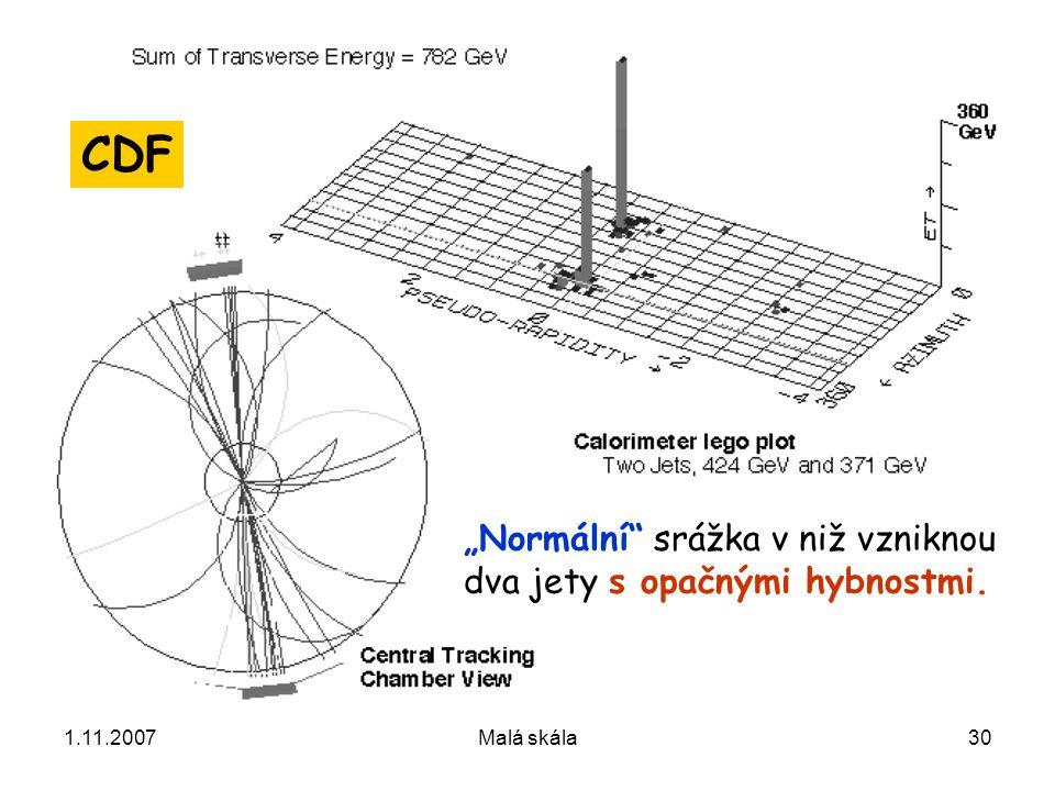 "1.11.2007Malá skála30 ""Normální srážka v niž vzniknou dva jety s opačnými hybnostmi. CDF"