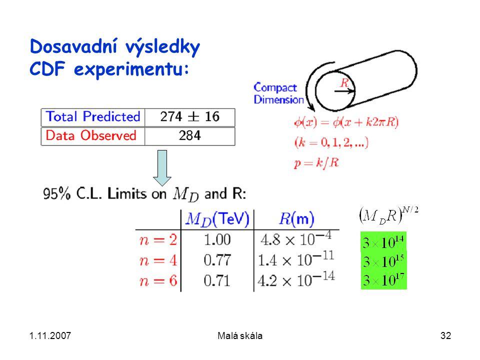 1.11.2007Malá skála32 Dosavadní výsledky CDF experimentu: