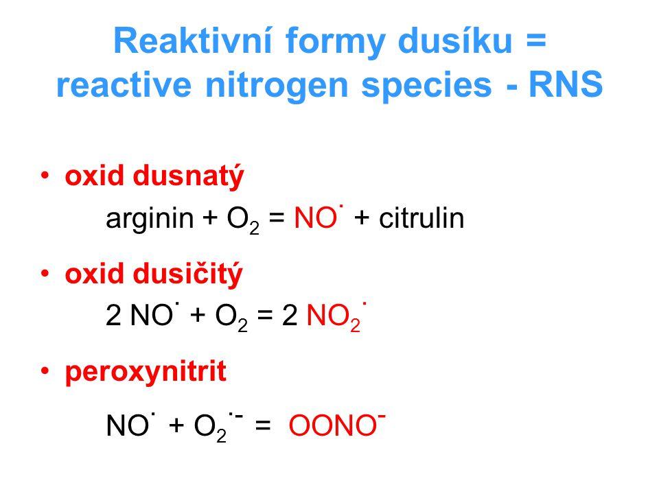 Reaktivní formy dusíku = reactive nitrogen species - RNS oxid dusnatý arginin + O 2 = NO · + citrulin oxid dusičitý 2 NO · + O 2 = 2 NO 2 · peroxynitr
