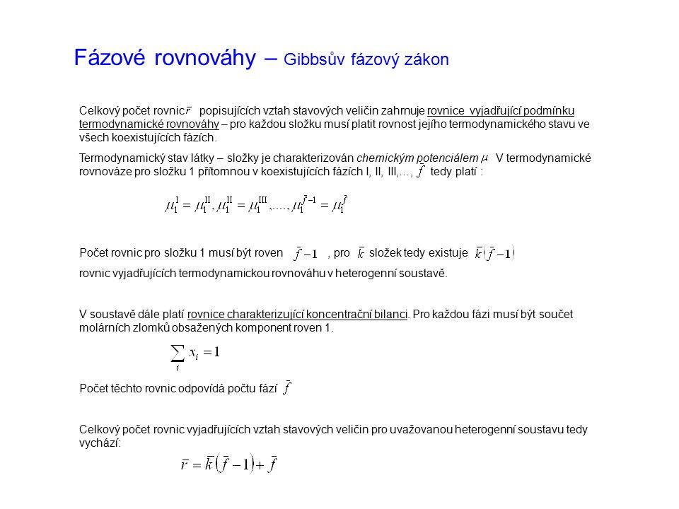 Fázové rovnováhy – Gibbsův fázový zákon Pro počet stupňů volnosti (počet nezávisle proměnných) tedy vychází: Výsledný vztah je vyjádřením Gibbsova fázového zákona Fázové rovnováhy jsou klasifikovány dle počtu stupňů volnosti: invariantní soustava univariantní soustava bivariantní soustava ….