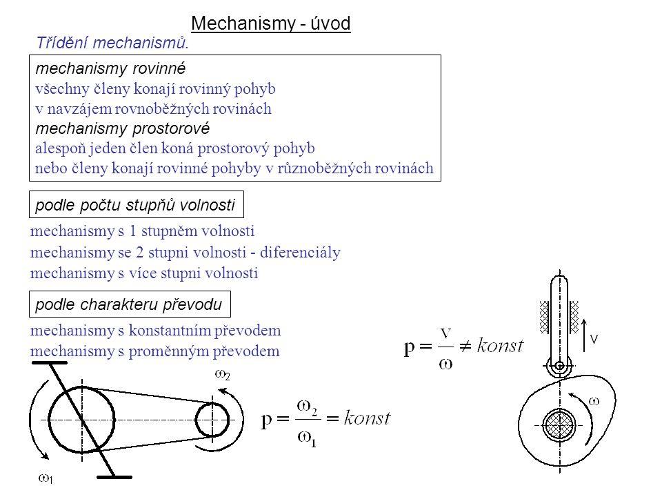Mechanismy - úvod Dynamika I, 8. přednáška podle počtu stupňů volnosti mechanismy s 1 stupněm volnosti mechanismy s více stupni volnosti podle charakt