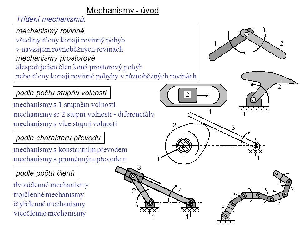 Mechanismy - úvod podle počtu stupňů volnosti mechanismy s 1 stupněm volnosti mechanismy se 2 stupni volnosti - diferenciály mechanismy s více stupni