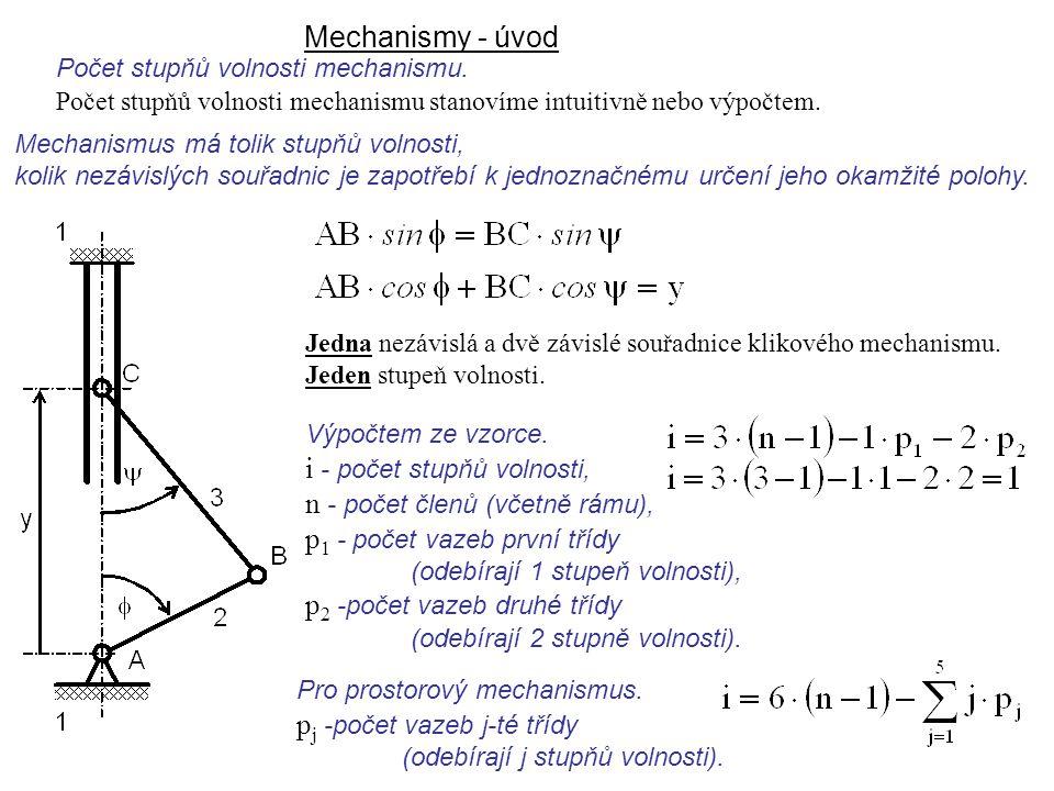Mechanismy - úvod Mechanismus má tolik stupňů volnosti, kolik nezávislých souřadnic je zapotřebí k jednoznačnému určení jeho okamžité polohy. Jedna ne