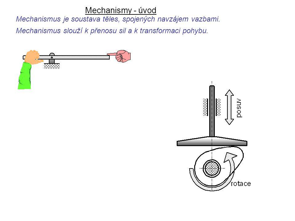 Mechanismy - úvod Mechanismus slouží k přenosu sil a k transformaci pohybu. Mechanismus je soustava těles, spojených navzájem vazbami. Dynamika I, 8.