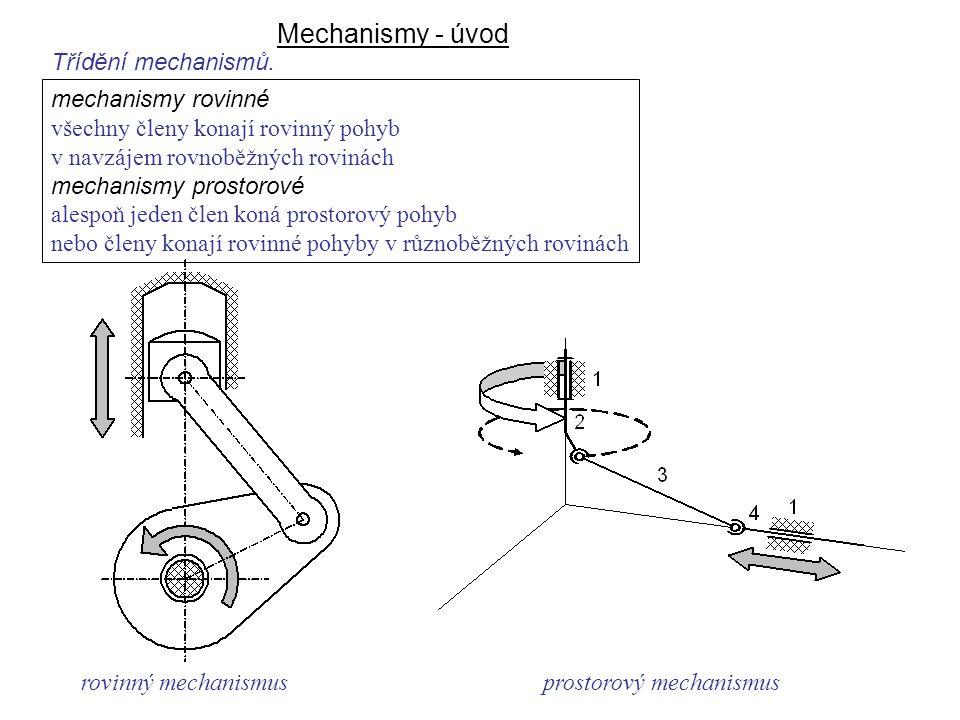 Mechanismy - úvod Dynamika I, 8. přednáška Třídění mechanismů. rovinný mechanismusprostorový mechanismus mechanismy rovinné všechny členy konají rovin