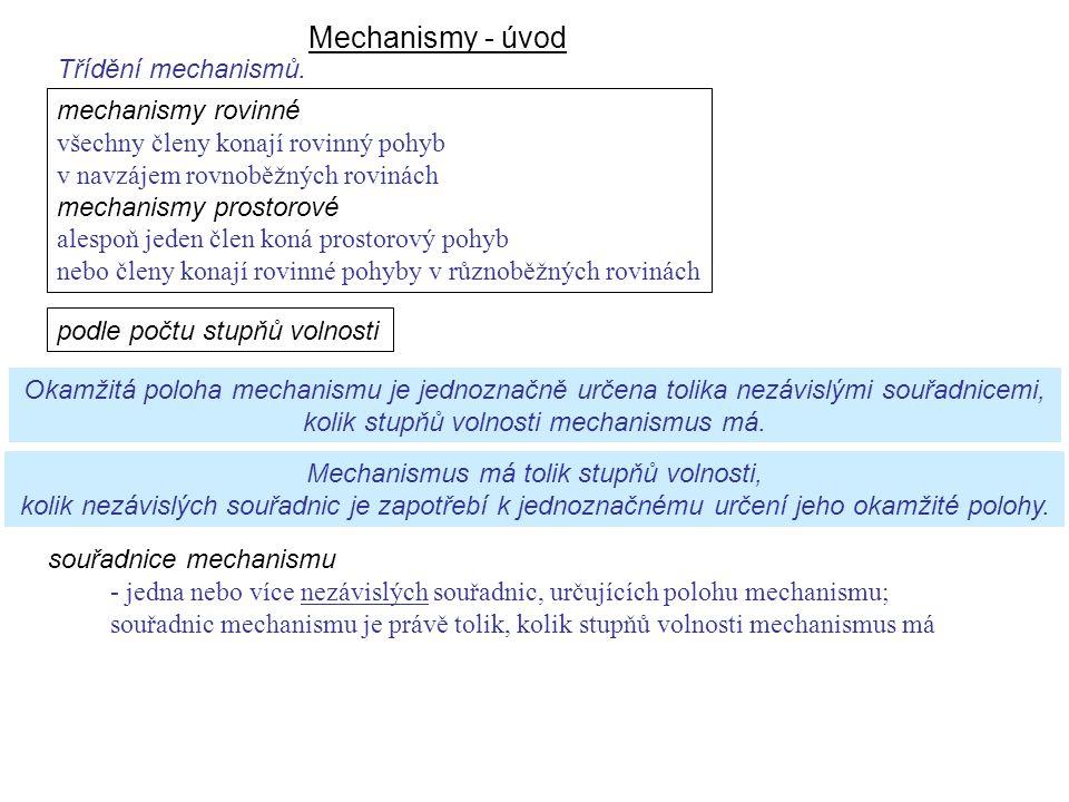 Mechanismy - úvod Dynamika I, 8. přednáška podle počtu stupňů volnosti mechanismy rovinné všechny členy konají rovinný pohyb v navzájem rovnoběžných r