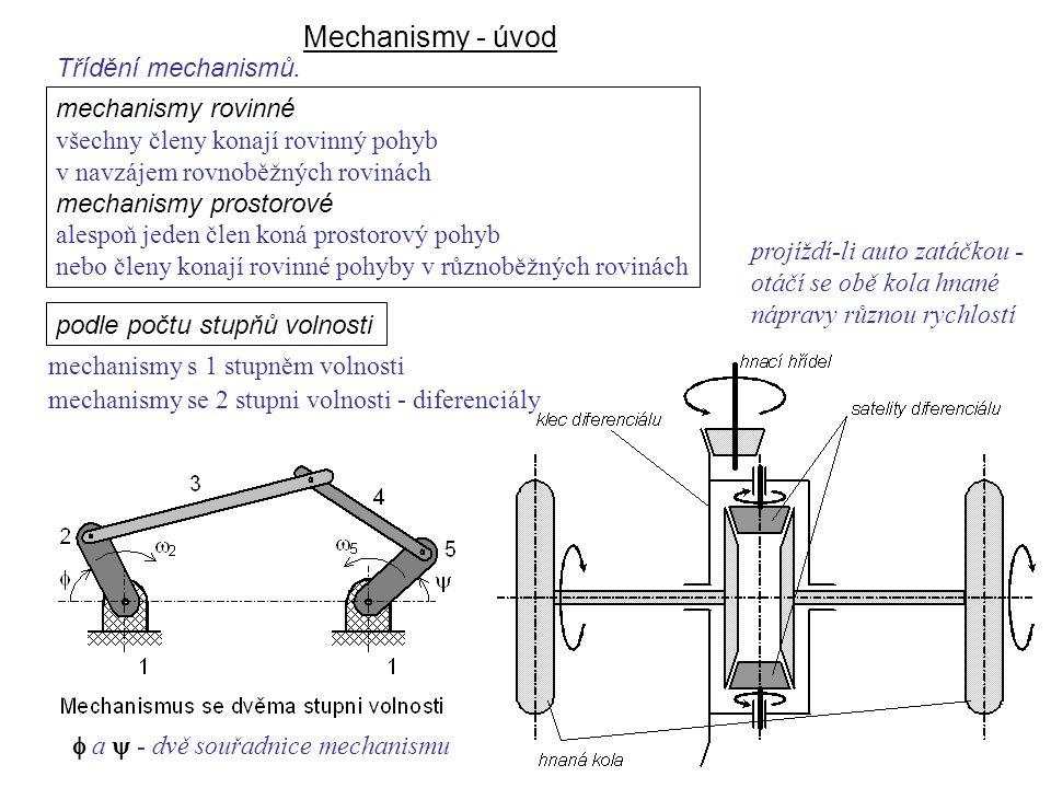 Mechanismy - úvod Dynamika I, 8. přednáška podle počtu stupňů volnosti mechanismy s 1 stupněm volnosti mechanismy se 2 stupni volnosti - diferenciály