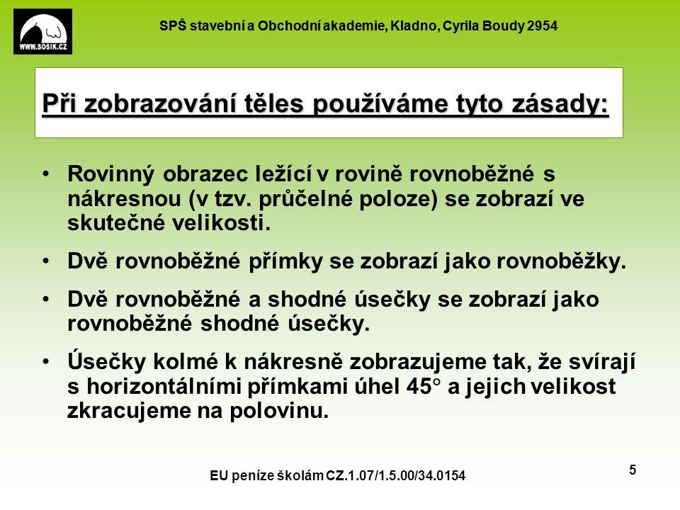 SPŠ stavební a Obchodní akademie, Kladno, Cyrila Boudy 2954 EU peníze školám CZ.1.07/1.5.00/34.0154 5 Při zobrazování těles používáme tyto zásady: Rov