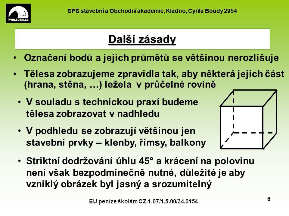 SPŠ stavební a Obchodní akademie, Kladno, Cyrila Boudy 2954 EU peníze školám CZ.1.07/1.5.00/34.0154 6 Další zásady Označení bodů a jejich průmětů se v