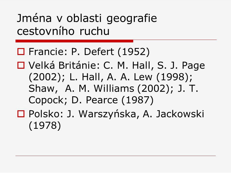 Jména v oblasti geografie cestovního ruchu  Francie: P. Defert (1952)  Velká Británie: C. M. Hall, S. J. Page (2002); L. Hall, A. A. Lew (1998); Sha