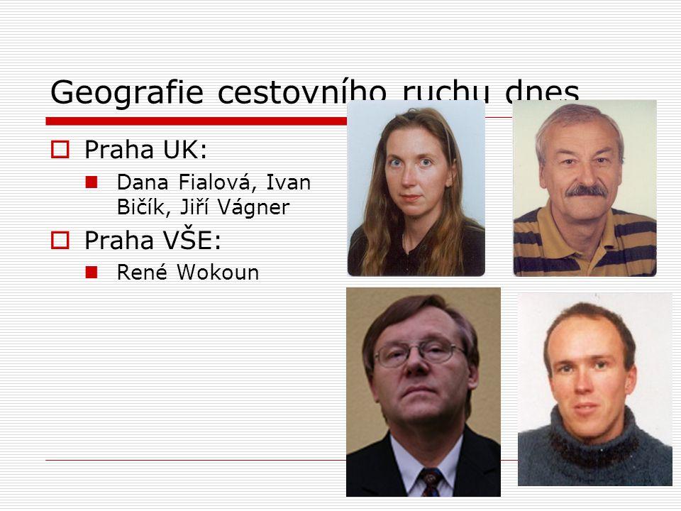 Geografie cestovního ruchu dnes  Praha UK: Dana Fialová, Ivan Bičík, Jiří Vágner  Praha VŠE: René Wokoun