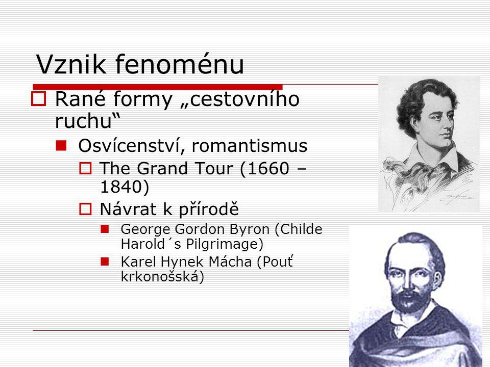 """Vznik fenoménu  Rané formy """"cestovního ruchu Osvícenství, romantismus  The Grand Tour (1660 – 1840)  Návrat k přírodě George Gordon Byron (Childe Harold´s Pilgrimage) Karel Hynek Mácha (Pouť krkonošská)"""