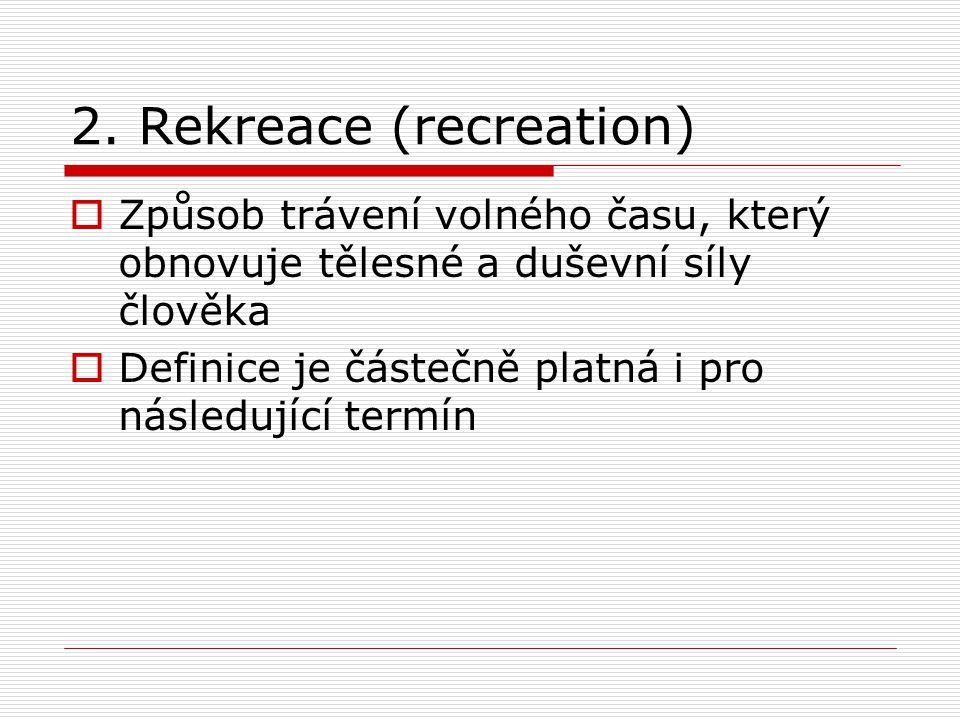 2. Rekreace (recreation)  Způsob trávení volného času, který obnovuje tělesné a duševní síly člověka  Definice je částečně platná i pro následující