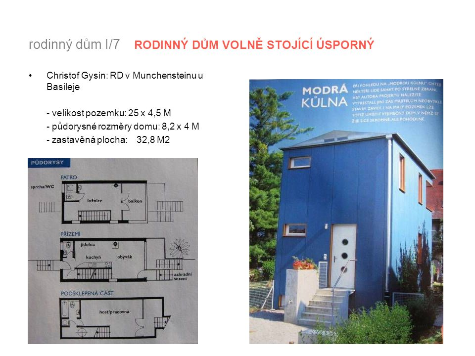 rodinný dům I/7 RODINNÝ DŮM VOLNĚ STOJÍCÍ ÚSPORNÝ Christof Gysin: RD v Munchensteinu u Basileje - velikost pozemku: 25 x 4,5 M - půdorysné rozměry dom