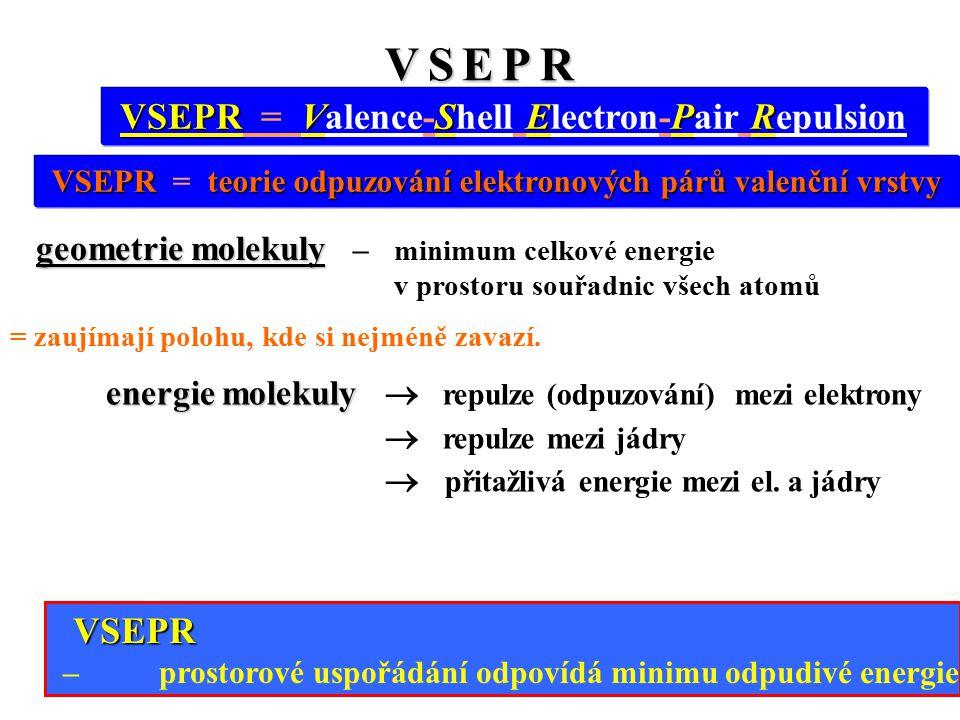 V S E P RV S E P RV S E P RV S E P R VSEPRVSEPR VSEPR = Valence-Shell Electron-Pair Repulsion geometrie molekuly geometrie molekuly – minimum celkové energie v prostoru souřadnic všech atomů = zaujímají polohu, kde si nejméně zavazí.