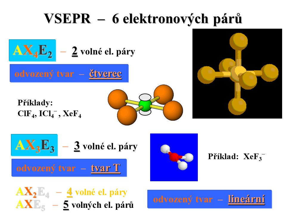 VSEPR – 6 elektronových párů Příklad: XeF 3 – AX 4 E 2 2 AX 4 E 2 – 2 volné el.