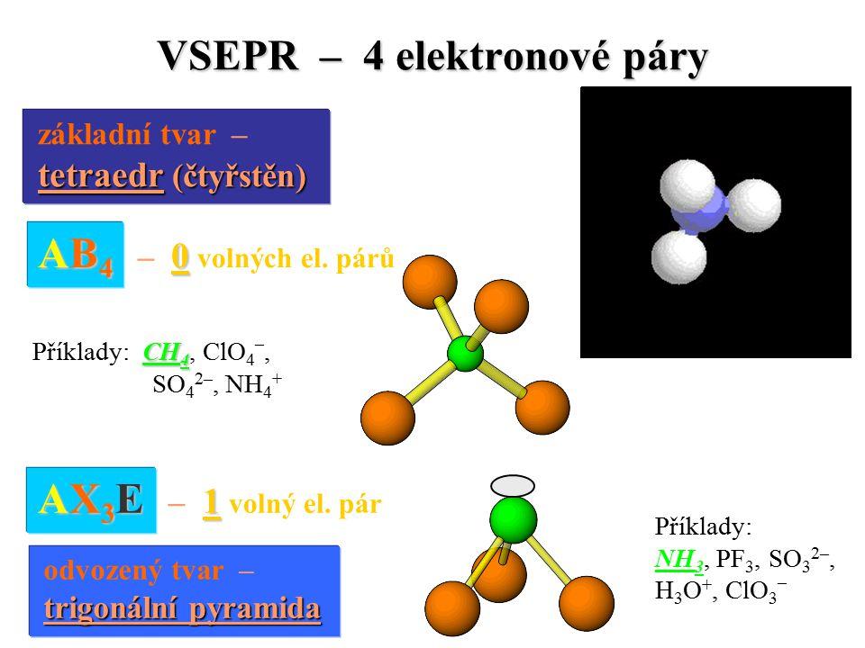 VSEPR – 4 elektronové páry základní tvar – tetraedr (čtyřstěn) tetraedr (čtyřstěn) AB 4 0 AB 4 – 0 volných el.