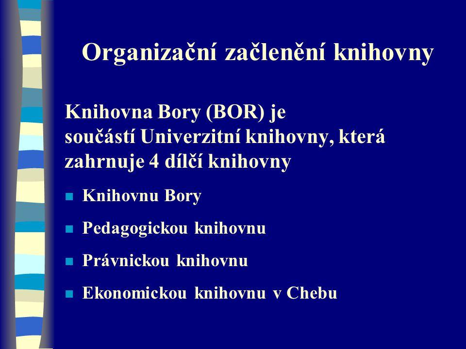 Organizační začlenění knihovny Knihovna Bory (BOR) je součástí Univerzitní knihovny, která zahrnuje 4 dílčí knihovny n Knihovnu Bory n Pedagogickou kn
