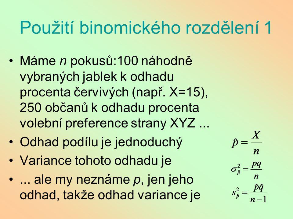 Použití binomického rozdělení 1 Máme n pokusů:100 náhodně vybraných jablek k odhadu procenta červivých (např. X=15), 250 občanů k odhadu procenta vole