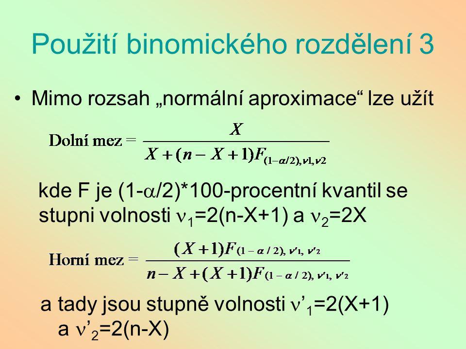 """Použití binomického rozdělení 3 Mimo rozsah """"normální aproximace"""" lze užít kde F je (1-  /2)*100-procentní kvantil se stupni volnosti 1 =2(n-X+1) a 2"""