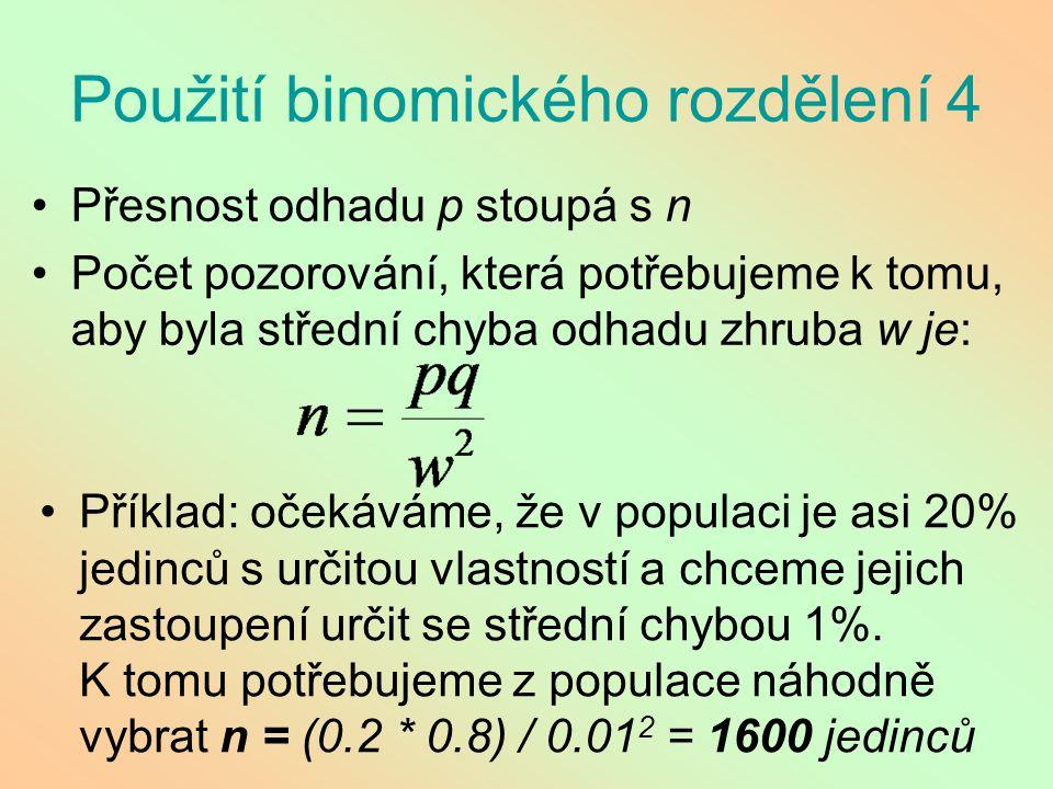 Použití binomického rozdělení 4 Přesnost odhadu p stoupá s n Počet pozorování, která potřebujeme k tomu, aby byla střední chyba odhadu zhruba w je: Př