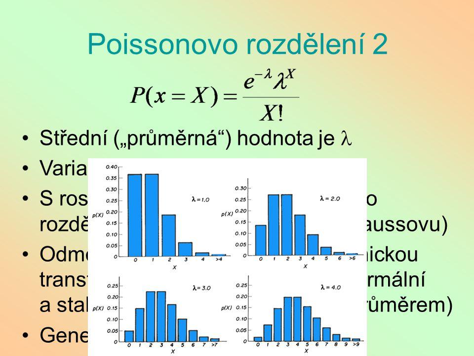 """Poissonovo rozdělení 2 Střední (""""průměrná"""") hodnota je Variance tohoto rozdělení je také S rostoucí hodnotu se Poissonovo rozdělení přibližuje normáln"""