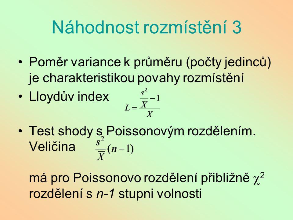 Náhodnost rozmístění 3 Poměr variance k průměru (počty jedinců) je charakteristikou povahy rozmístění Lloydův index Test shody s Poissonovým rozdělení