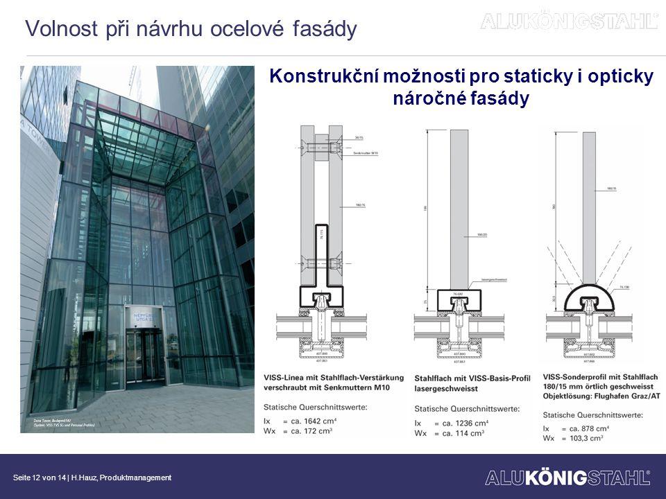 Seite 13 von 14   H.Hauz, Produktmanagement Volnost při návrhu ocelové fasády Konstrukční možnosti pro staticky i opticky náročné fasády