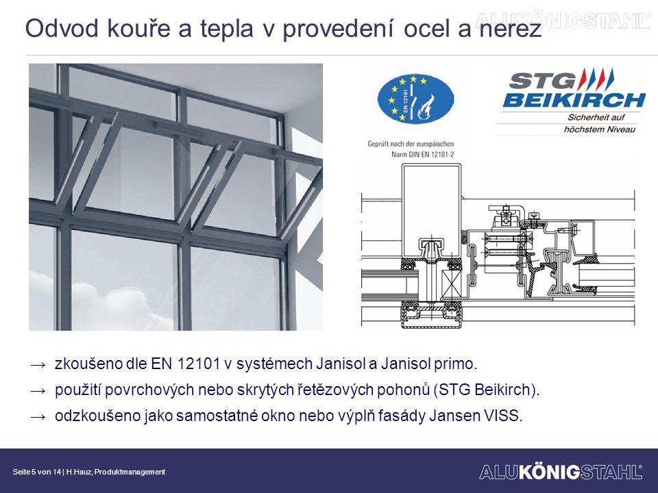 Seite 6 von 14   H.Hauz, Produktmanagement Objektová řešení / atypické konstrukce SG - okenní otvíravé křídlo (otočné, otočně- výklopné, výklopné) → pro skla tl.