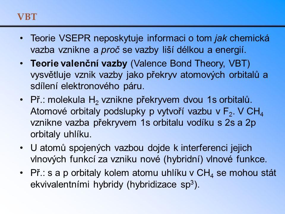 VBT Teorie VSEPR neposkytuje informaci o tom jak chemická vazba vznikne a proč se vazby liší délkou a energií. Teorie valenční vazby (Valence Bond The