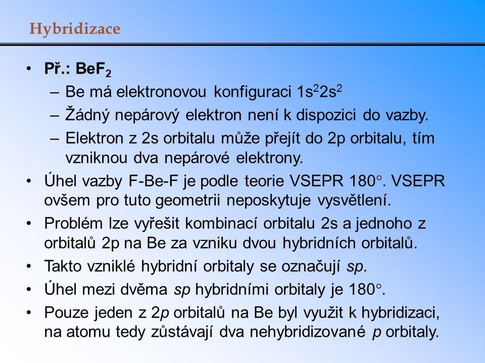 Hybridizace Př.: BeF 2 –Be má elektronovou konfiguraci 1s 2 2s 2 –Žádný nepárový elektron není k dispozici do vazby. –Elektron z 2s orbitalu může přej