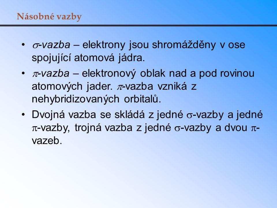 Násobné vazby  -vazba – elektrony jsou shromážděny v ose spojující atomová jádra.  -vazba – elektronový oblak nad a pod rovinou atomových jader.  -