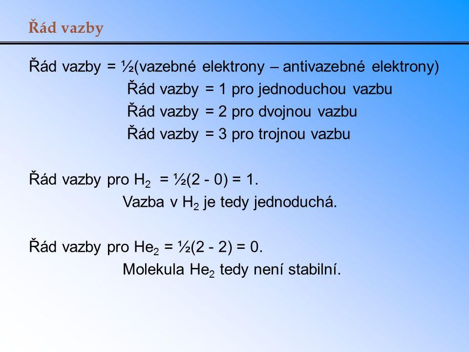 Řád vazby Řád vazby = ½(vazebné elektrony – antivazebné elektrony) Řád vazby = 1 pro jednoduchou vazbu Řád vazby = 2 pro dvojnou vazbu Řád vazby = 3 p