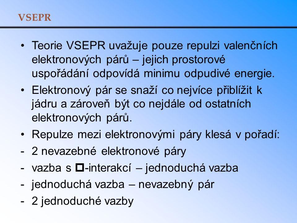 VSEPR Teorie VSEPR uvažuje pouze repulzi valenčních elektronových párů – jejich prostorové uspořádání odpovídá minimu odpudivé energie. Elektronový pá