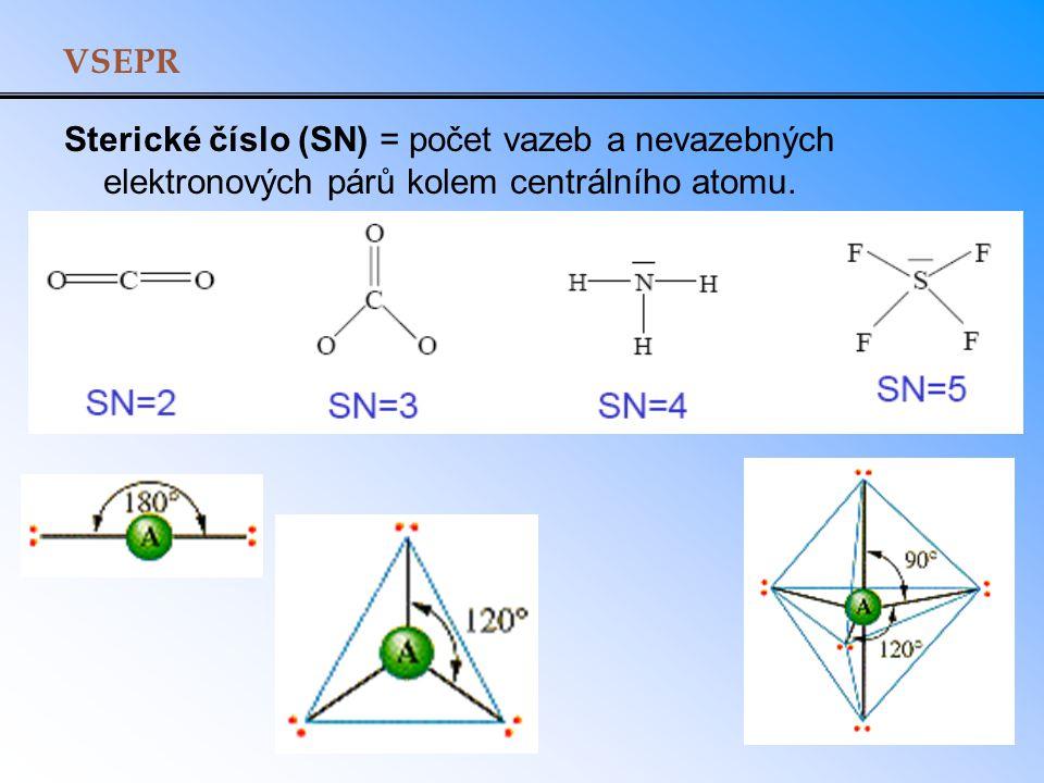 VSEPR Sterické číslo (SN) = počet vazeb a nevazebných elektronových párů kolem centrálního atomu.