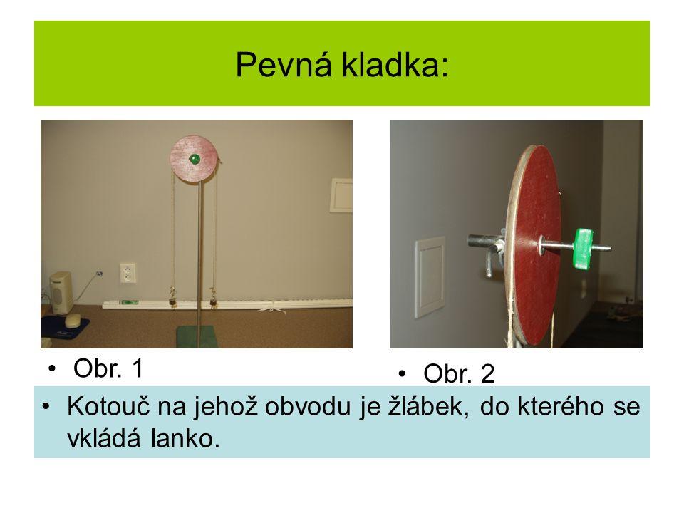 Pevná kladka: Kotouč na jehož obvodu je žlábek, do kterého se vkládá lanko. Obr. 1 Obr. 2