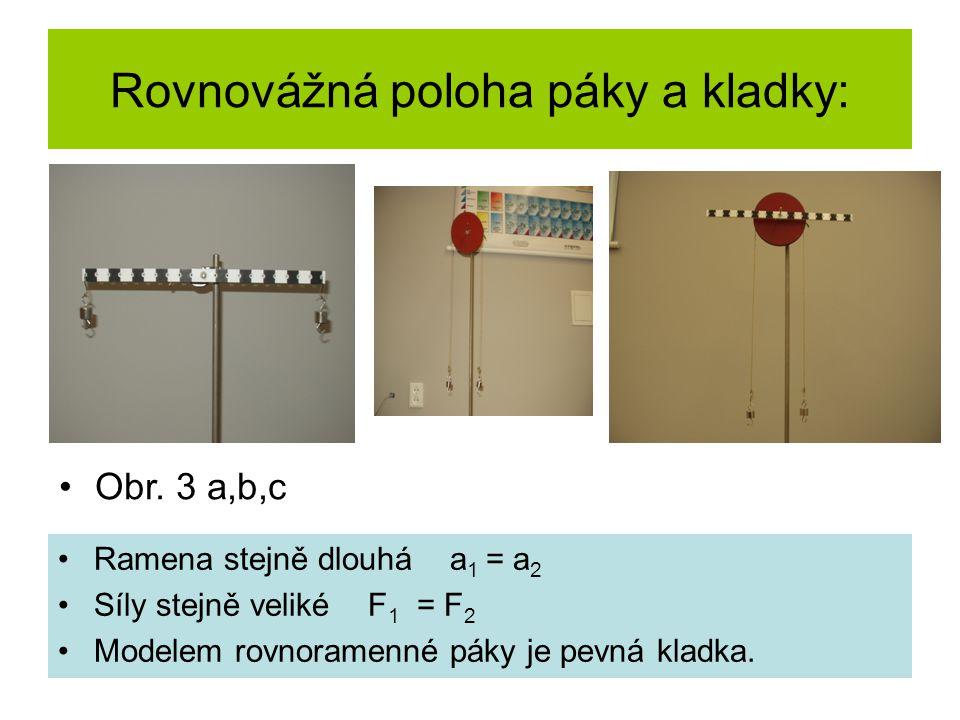 Rovnovážná poloha páky a kladky: Ramena stejně dlouhá a 1 = a 2 Síly stejně veliké F 1 = F 2 Modelem rovnoramenné páky je pevná kladka. Obr. 3 a,b,c